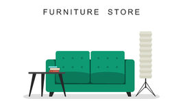 Sofa with table and lamp. Royalty Free Stock Image