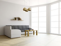 Sofa and a table in the livingroom Royalty Free Stock Image