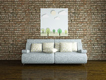 Sofa and table near the wall Royalty Free Stock Images