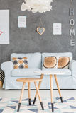 Sofa and tables in a room stock images