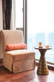 Sofa and tea table by the window Royalty Free Stock Photography