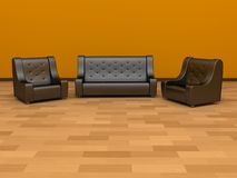 Sofa and two chairs Stock Images