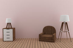 Sofa with two lamps in the pink room design in 3D render image Stock Images