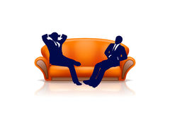 Sofa5 with two men Royalty Free Stock Photography