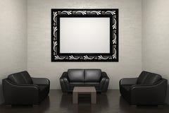 Sofa und Bilderrahmen Stockbilder