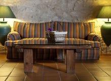 Sofa- und Buchtabelle Stockfotografie