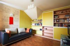 Sofa und ein Bücherschrank Lizenzfreie Stockfotos