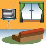 Sofa und Fernsehapparat Stockfotos
