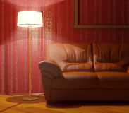 Sofa und Fußbodenlampe Stockbild