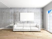 Sofa und Rahmen in der Wiedergabe des Raumes 3d stockbild