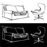 Sofa- und Stuhlzeichnungen stock abbildung