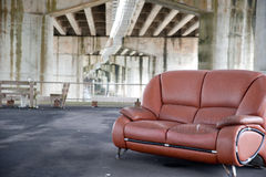 Sofa under a bridge Royalty Free Stock Images