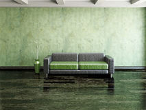 Sofa and vase. Near the cement wall Stock Photography