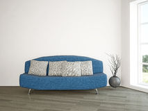 Sofa and vase near the wall Royalty Free Stock Photos
