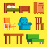 Sofa  vector illustration isolated furniture interior living simple comfortable home room set house table Royalty Free Stock Photo