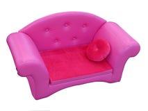 Sofa violet avec l'oreiller rouge d'isolement Photographie stock libre de droits