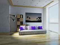 Sofa with violet pillows Royalty Free Stock Images