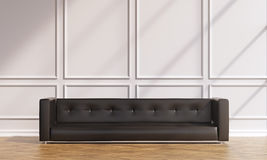Sofa at wall. Brown sofa at white wall, paruette. Shades on wall. Concept of decoration. Mock up. 3D rendering Royalty Free Stock Photos