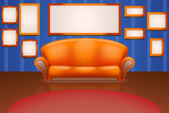 Sofa on wall with frames Stock Photo