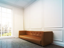 Sofa at the wall, side view, window light Royalty Free Stock Photo