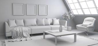 sofa wewnętrzna ilustracja 3 d ilustracja wektor