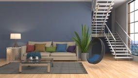 sofa wewnętrzna ilustracja 3 d Zdjęcie Royalty Free