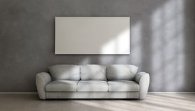 Sofa and white card. White card on the wall above a sofa Stock Image