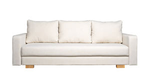 Sofa with white fabric upholstery (front view) Stock Image