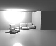 Sofa in White Room Background Royalty Free Stock Images