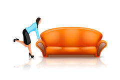 Sofa6 with woman Royalty Free Stock Photos