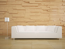Sofa and wood wall in living room modern interior design Stock Image