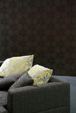Sofa with yellow pillows Stock Photo