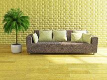 Sofa with yellow pillows Stock Photography