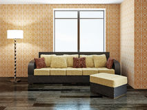 Sofa with yellow pillows Stock Photo