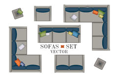Sofas Armchair Set. Furniture, Pouf, Carpet, TV, Plants, Side Table for Your Interior Design. Flat Vector Illustration. Top View. Royalty Free Stock Images