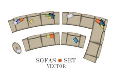Sofas Armchair Set. Top view. Furniture, Pouf, Pillows for Your Interior Design. Flat Vector Illustration. Scene Creator. Beige Co Royalty Free Stock Photography