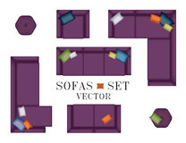 Sofas Armchair Set. Top view. Furniture, Pouf, Pillows for Your Interior Design. Flat Vector Illustration. Scene Creator. Purple C Royalty Free Stock Photos