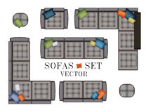 Sofas Armchair Set. Top view. Furniture with Stitching , Pouf, Pillows for Your Interior Design. Flat Vector Illustration. Scene C Royalty Free Stock Image