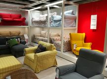 Sofas and armchairs colorful at Ikea Royalty Free Stock Photo
