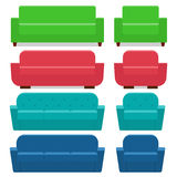Sofas and armchairs in flat design. Vector illustration. stock illustration