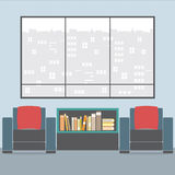 Sofas With Bookcase In Front Of Wide Glass Window Royalty Free Stock Photo
