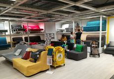 Sofas colorful at Ikea. Romania Royalty Free Stock Photography