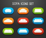 Sofas and Couches Furniture Icons Set Royalty Free Stock Images