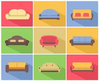 Sofas and Couches Icons Set Royalty Free Stock Image