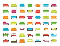 Free Sofas & Couches. Living Room & Patio Furniture. Vector Icons. Stock Image - 111629381