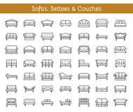 Free Sofas & Couches. Living Room & Patio Furniture. Vector Line Icon Stock Photos - 111629383