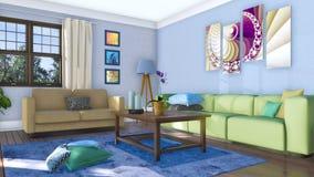 Sofas dans le salon moderne lumineux 4K intérieur illustration libre de droits