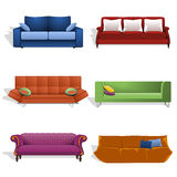 Sofas in different colors and designs Stock Photos