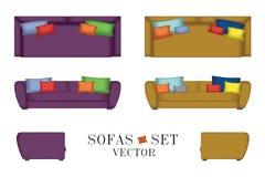 Sofas eingestellt Möbel für Ihre Innenarchitektur Auch im corel abgehobenen Betrag Spitzen-, vordere und Seitenansicht Lizenzfreies Stockfoto