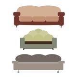 Sofas eingestellte flache Vektor-Illustration Stockbilder